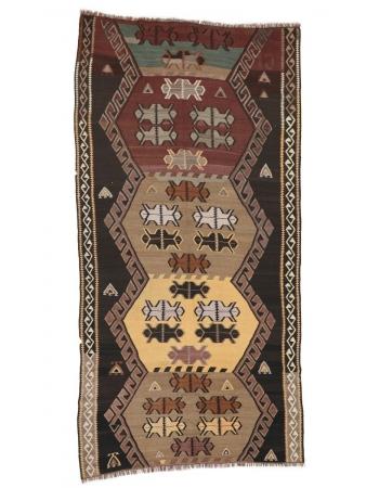 """Decorative Vintage Turkish Kilim Rug - 5`0"""" x 10`2"""""""