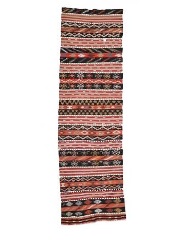 "Vintage Turkish Decorative Kilim Runner - 3`5"" x 11`8"""