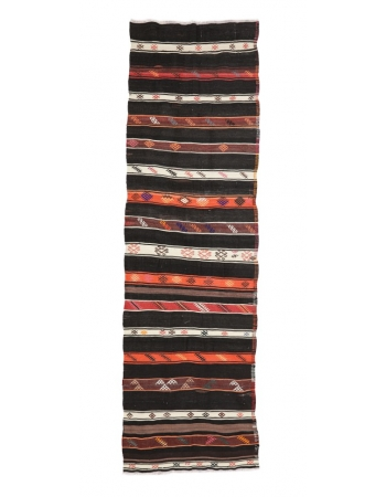 "Vintage Turkish Decorative Kilim Runner - 3`3"" x 11`1"""