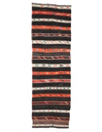 "Embroidered Vintage Kilim Runner - 3`5"" x 10`10"""