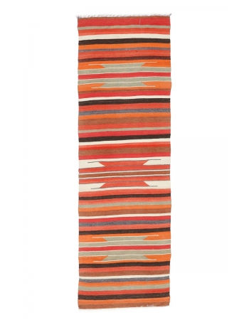 "Vintage Striped Kilim Runner Rug - 2`10"" x 8`11"""