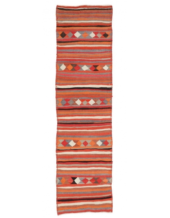 "Orange Vintage Kilim Runner Rug - 3`1"" x 10`10"""