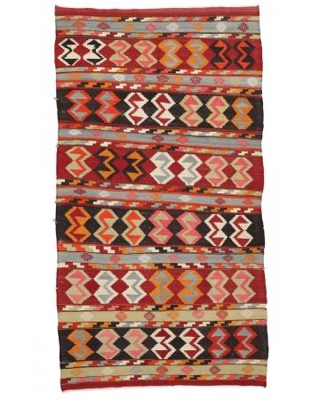 """Vintage Turkish Decorative Kilim Rug - 4`1"""" x 8`0"""""""