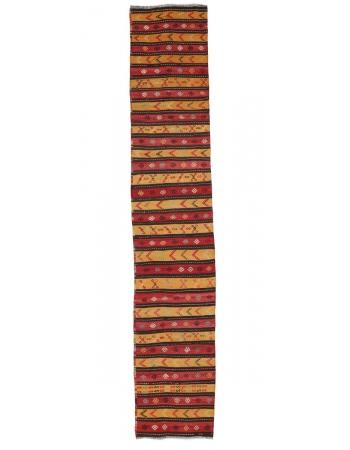 "Red & Yellow Striped Kilim Runner - 2`2"" x 11`11"""