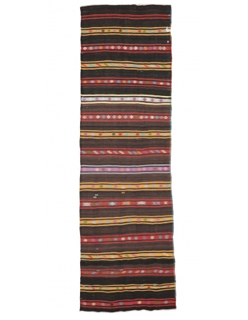 "Striped Vintage Turkish Kilim Rug - 3`7"" x 11`8"""