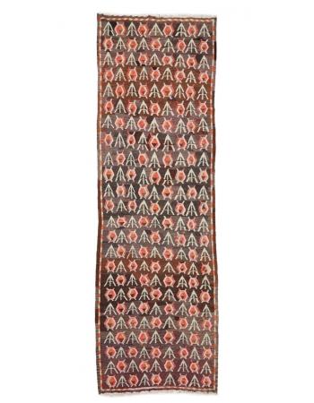 """Decorative Vintage Turkish Kilim Rug - 3`7"""" x 11`2"""""""