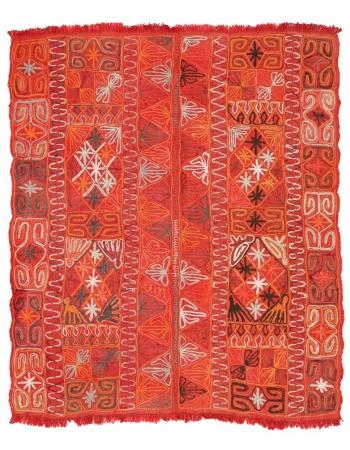 "Orange Embroidered Arabi Kilim Rug - 4`9"" x 5`7"""