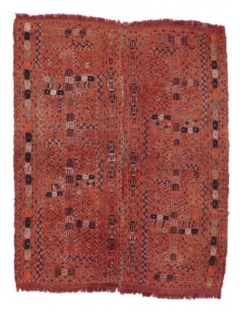 "Embroidered Vintage Decorative Arabi Kilim - 5`0"" x 6`7"""