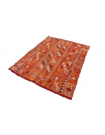 """Vintage Embroidered Decorative Arabi Kilim Rug - 5`1"""" x 6`2"""""""