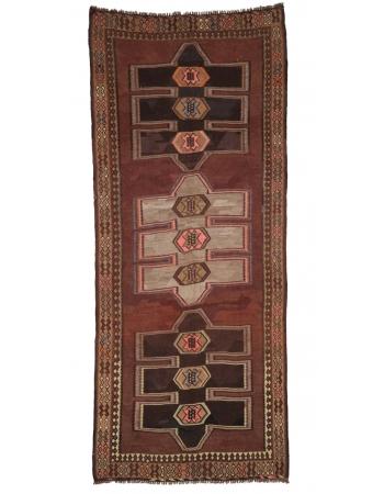"Decorative Vintage Turkish Kars Kilim Rug - 5`5"" x 13`3"""