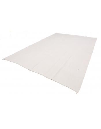 "White Large Turkish Cotton Kilim Rug - 8`6"" x 12`8"""