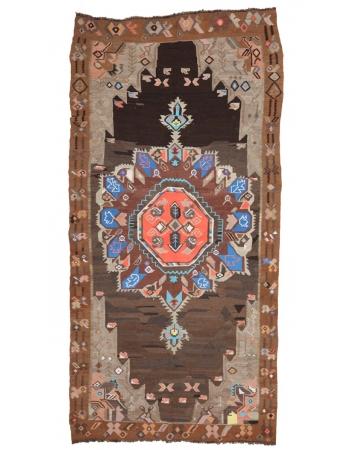 "Unique Vintage Turkish Kilim Rug - 6`0"" x 12`3"""