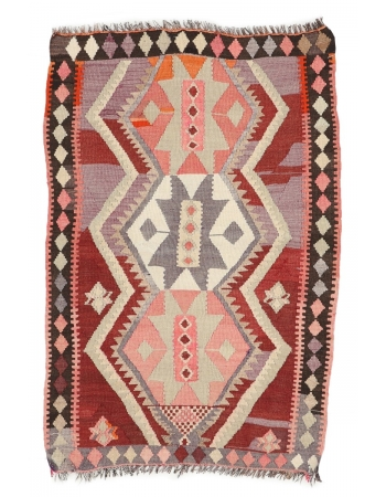 "Vintage Small Decorative Kilim Rug - 3`0"" x 4`6"""
