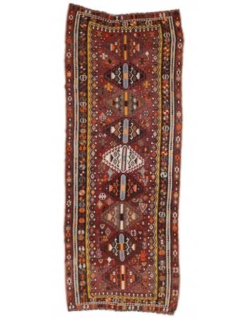 "Vintage Turkish Handwoven Kilim Rug - 4`7"" x 12`8"""