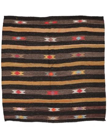 "Striped Vintage Decorative Kilim Rug - 6`5"" x 6`7"""