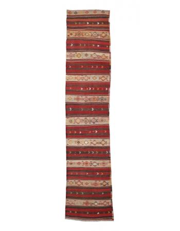 "Vintage Decorative Turkish Kilim Runner - 2`6"" x 11`0"""