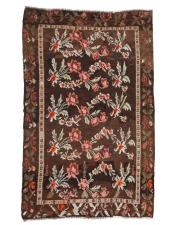 "Vintage Floral Turkish Kilim Rug - 7`0"" x 11`4"""