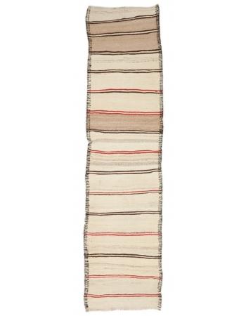 "Vintage Striped Modern Kilim Runner - 2`10"" x 11`10"""