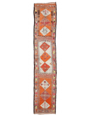 "Vintage Orange Decorative Runner - 2`11"" x 14`2"""