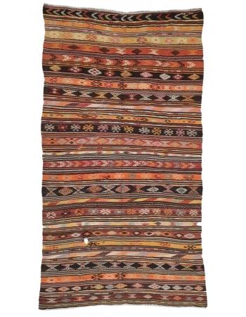 """Vintage Embroidered Turkish Kilim Rug - 6`0"""" x 11`4"""""""