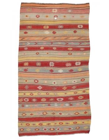 "Vintage Handwoven Turkish Kilim Rug - 6`4"" x 11`4"""