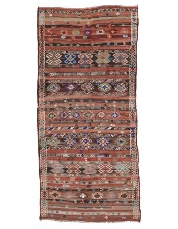 """Embroidered Vintage Turkish Kilim Rug - 5`6"""" x 11`4"""""""