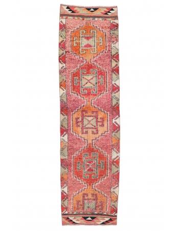 "Vintage Decorative Herki Runner Rug - 3`1"" x 11`4"""