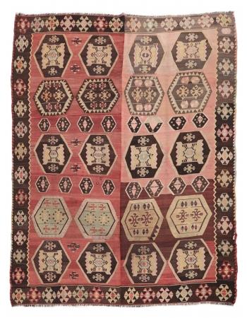 """Large Vintage Turkish Kilim Rug - 9`6"""" x 11`10"""""""