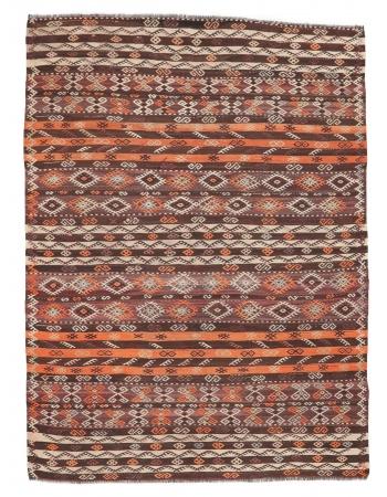 """Embroidered Vintage Kilim Rug - 6`7"""" x 8`11"""""""