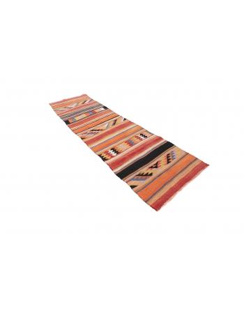 "Vintage Handwoven Kilim Runner - 2`10"" x 10`4"""