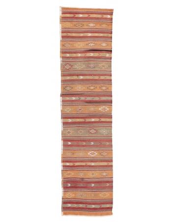 """Vintage Striped Turkish Kilim Runner - 2`6"""" x 10`2"""""""