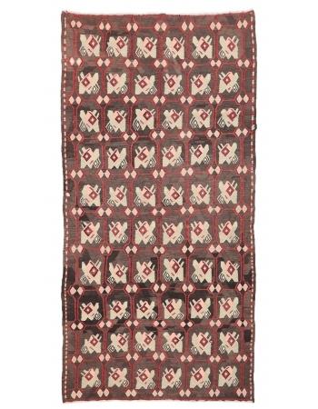"""Vintage Decorative Turkish Kilim Rug - 5`8"""" x 10`11"""""""