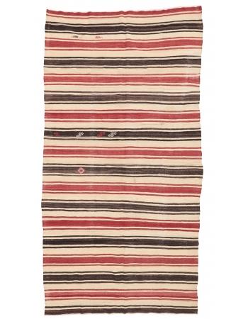 """Striped Vintage Kilim Rug - 6`1"""" x 11`6"""""""