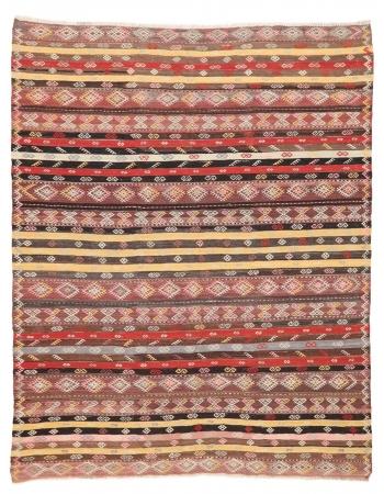 """Vintage Embroidered Kilim Rug - 7`7"""" x 9`4"""""""