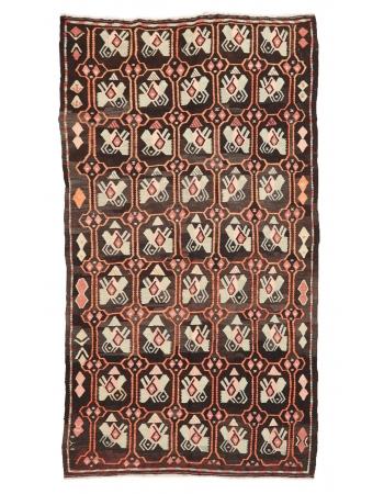 "Unique Vintage Turkish Kilim Rug - 5`11"" x 10`7"""