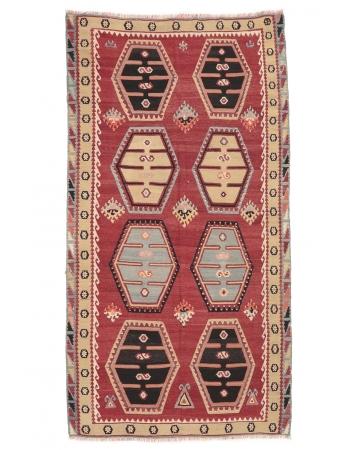 """Vintage Turkish Sivas Kilim Rug - 5`3"""" x 10`0"""""""