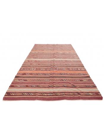 "Striped Decorative Vintage Kilim Rug - 6`3"" x 11`3"""