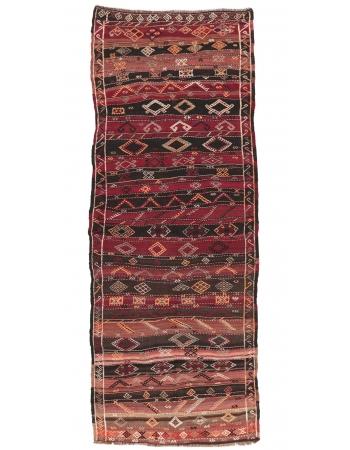 """Embroidered Vintage Turkish Kilim Rug - 4`1"""" x 12`4"""""""