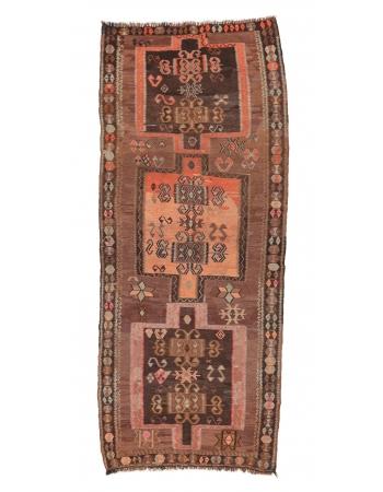 """Vintage Turkish Kars Kilim Rug - 5`0"""" x 12`6"""""""