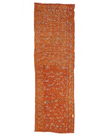 "Orange Embroidered Arabi Kilim Runner - 2`8"" x 8`6"""