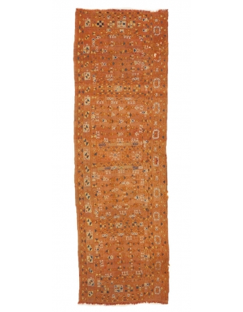 "Embroidered Vintage Arabi Kilim Runner - 2`7"" x 8`2"""