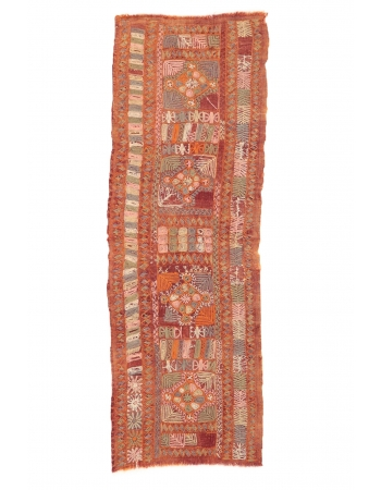 "Vintage Embroidered Arabi Kilim Runner - 2`6"" x 7`7"""