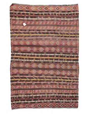 """Embroidered Vintage Kilim Rug - 6`7"""" x 9`8"""""""