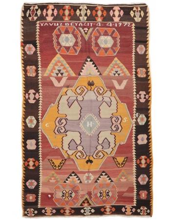 """Vintage Large Turkish Kilim Rug - 6`9"""" x 11`11"""""""