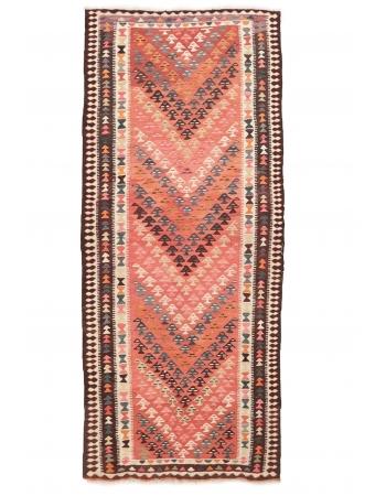 "Vintage Decorative Wide Kilim Runner - 4`1"" x 9`8"""