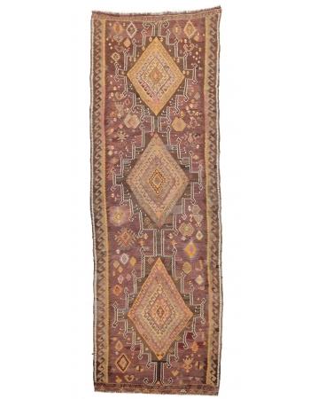 """Vintage Decorative Turkish Kilim Rug - 4`2"""" x 12`11"""""""