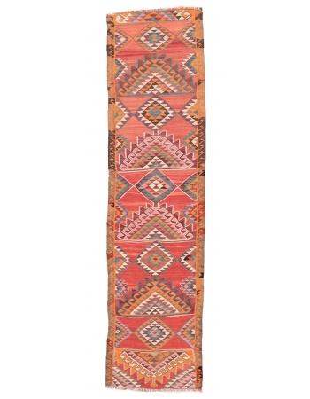 "Decorative Vintage Herki Kilim Runner - 2`11"" x 11`3"""