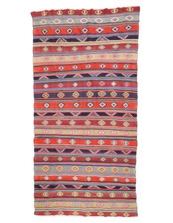 "Colorful Large Vintage Kilim Rug - 7`3"" x 13`7"""