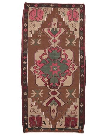 """Decorative Vintage Turkish Kilim Rug - 5`3"""" x 11`0"""""""