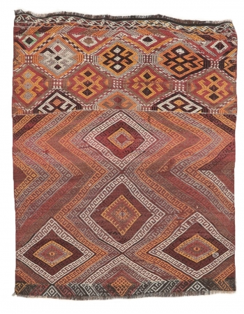 "Embroidered Vintage Small Kilim Rug - 3`11"" x 5`0"""